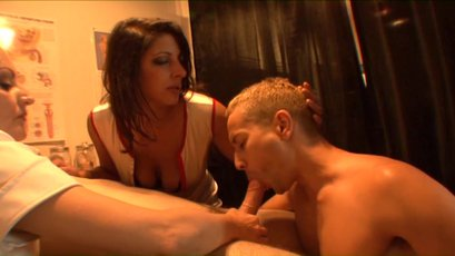 Two naughty nurses force a guy to suck a hard dick
