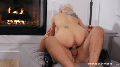 Busty Kenzie Taylor riding cock on the couch