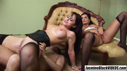Dressed in maid Jasmine Black and other hot babe in hot foursome