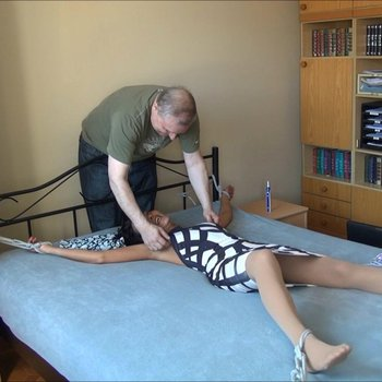 Naughty MILF gets tied up to the bed and tickled