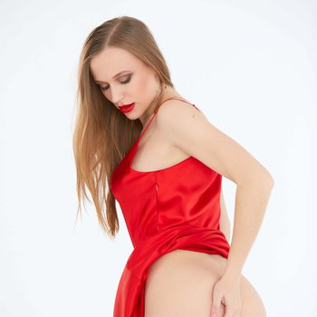 Gorgeous Aislin strips her sexy red lingerie