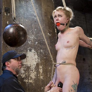 Anna Tyler rope bound and suspended is squirting by the use of toys