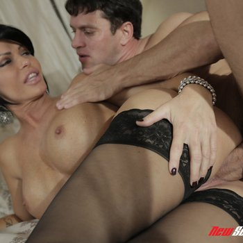 Curvaceous cougar Shay Fox in black lingerie getting down and dirty
