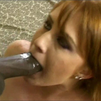 Horny white chick gets her mouth treated with a hard black cock.