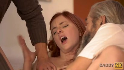 Vanessa Shelby fingered hard by her BF and his dad