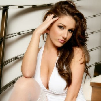Sexy Lucy Pinder in sexy white dress and nylons