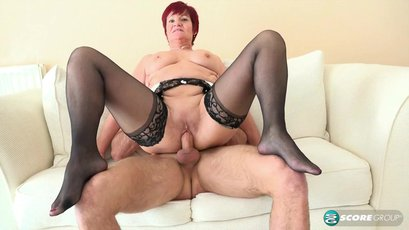 Red headed mature Linda Storm tit and pussy fucked