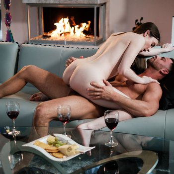 Hazel Moore having passionate sex by fireplace