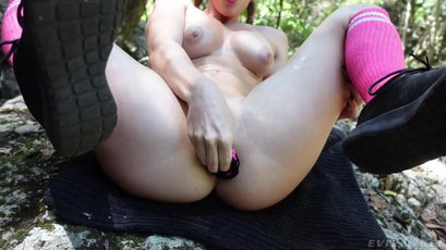 Horny Scarlet Chase use toys in public