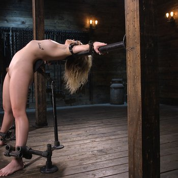 Blindfolded and chained Katie Kush enjoys torment