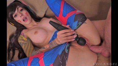 Purple Bitch using toy and big cock for her holes