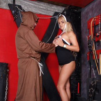 Busty naughty nun Katie meets the Mad Monk
