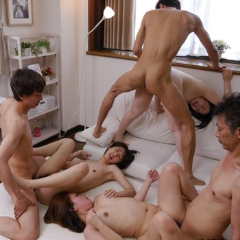 Three hot Asian couple in a steamy group sex scene