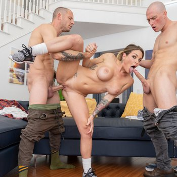 Sexy cleaning lady Kissa Sins fucked in threeway
