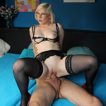 Horny blonde in sexy lingerie meets her husband after work