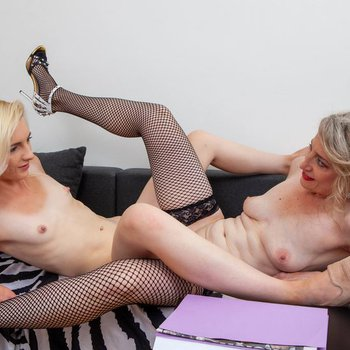 Two mature lesbians having some fun together