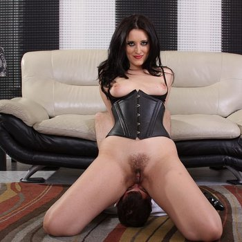 Sexy Mistress in black Corset grinds Pussy on Face