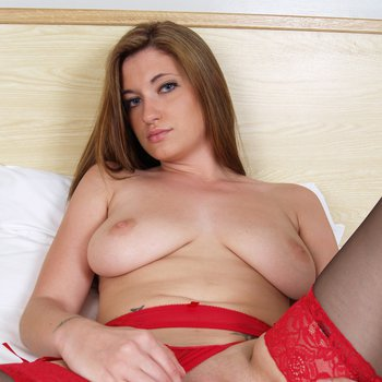 Brook Scott drops down red panties to fuck herself