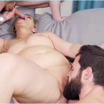 Horny mature chick having fun with two guys