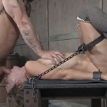 Mona Wales blonde fetish babe bound in chains for mouth and pussy fucking